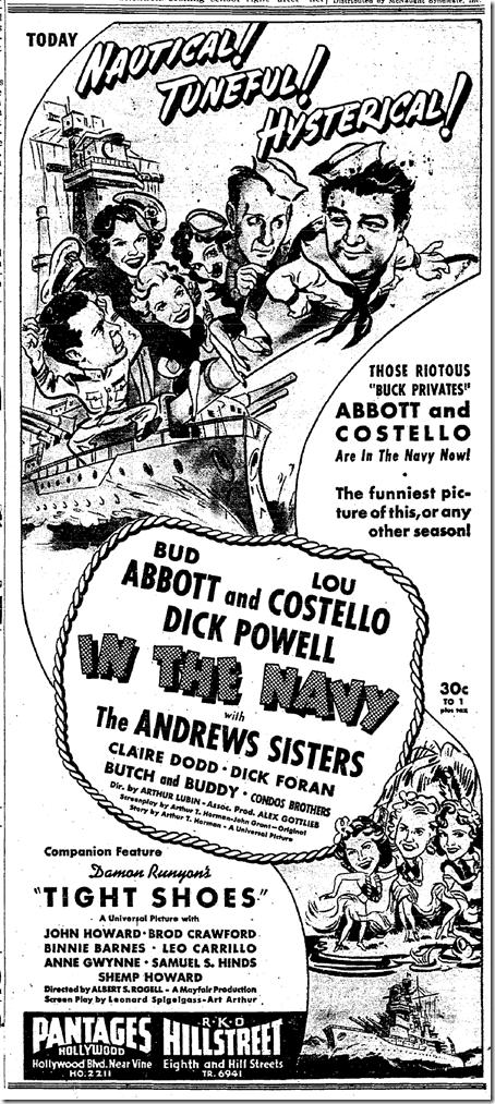 June 13, 1941, Abbott and Costello