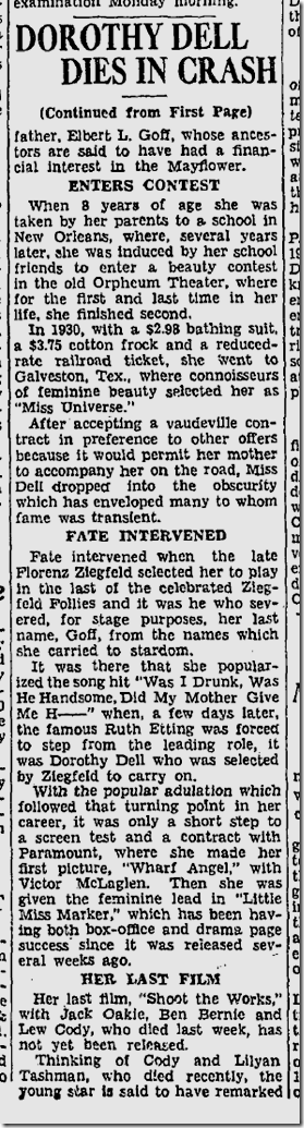 June 9, 1934, Dorothy Dell