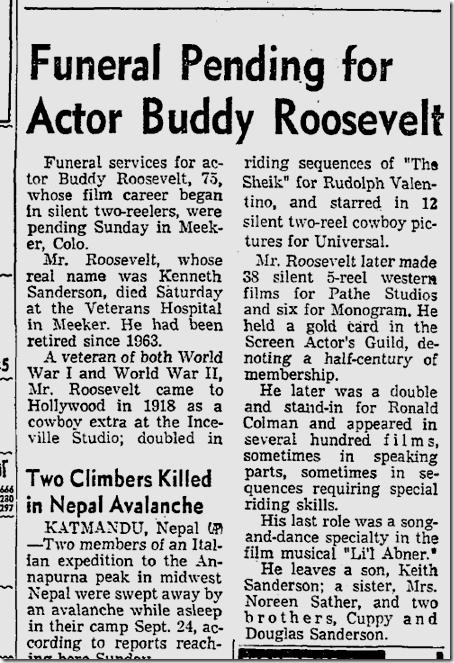 Oct. 8, 1973, Buddy Roosevelt