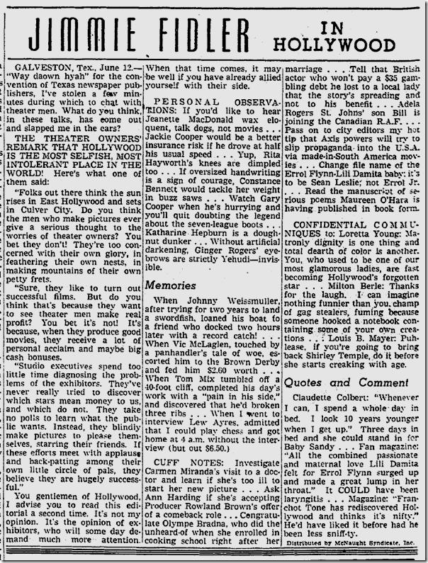 June 12, 1941, Jimmie Fidler