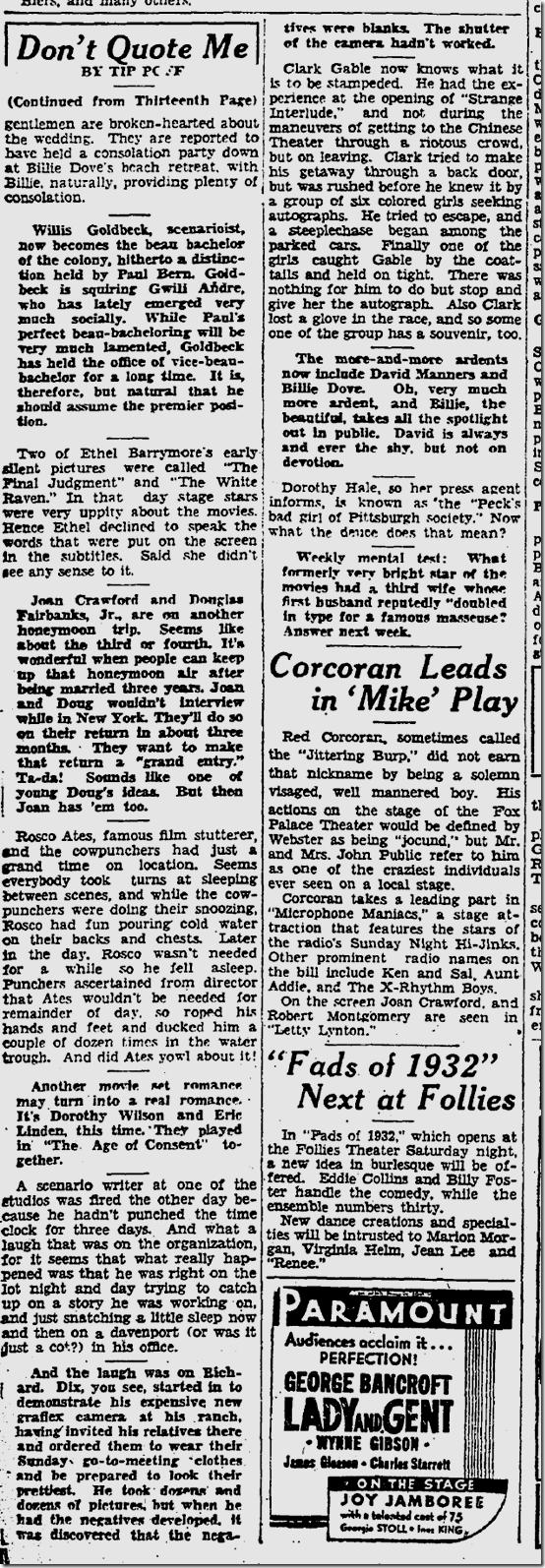 July 24, 1932, Tip Poff