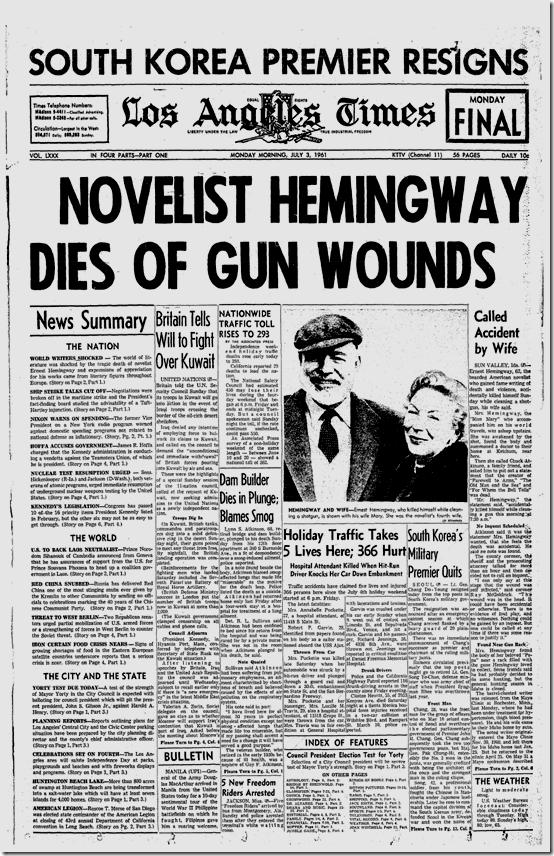 July 3, 1961, Hemingway Dies