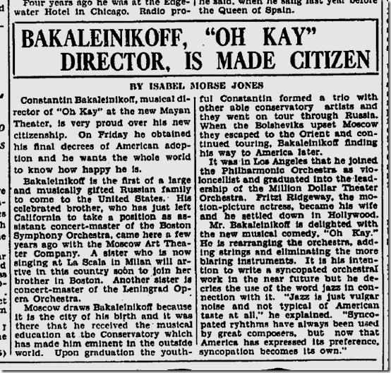 Sept. 4, 1927, Bakaleinikoff