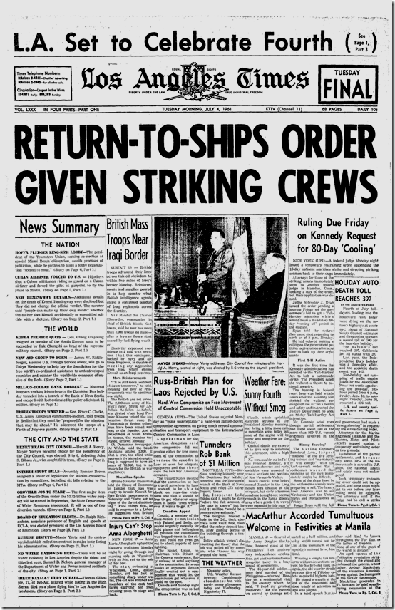 July 4, 1961, Los Angeles Times