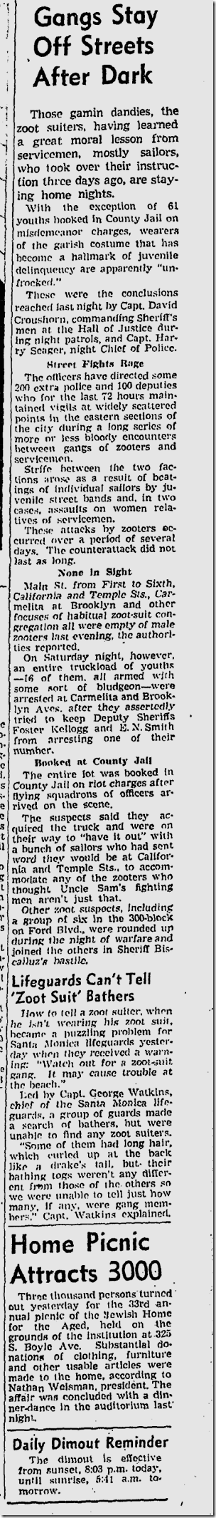 June 7, 1943, Zoot Suits
