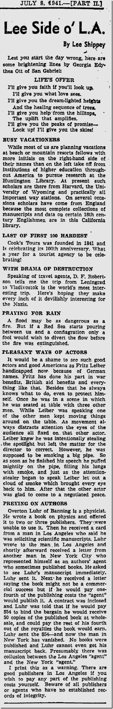 July 8, 1941, Lee Shippey