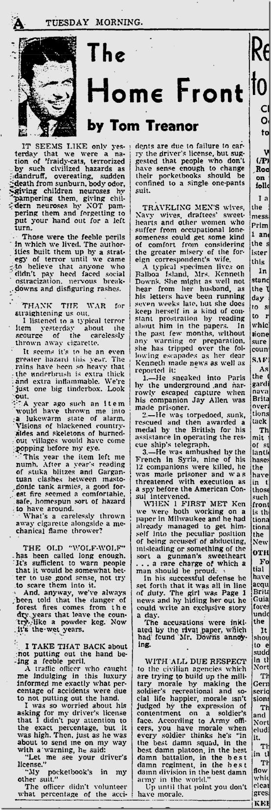 Tom Treanor, June 8, 1941,