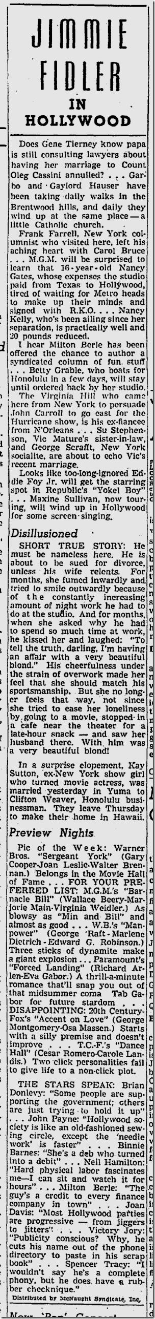 June 8, 1941, Jimmie Fidler
