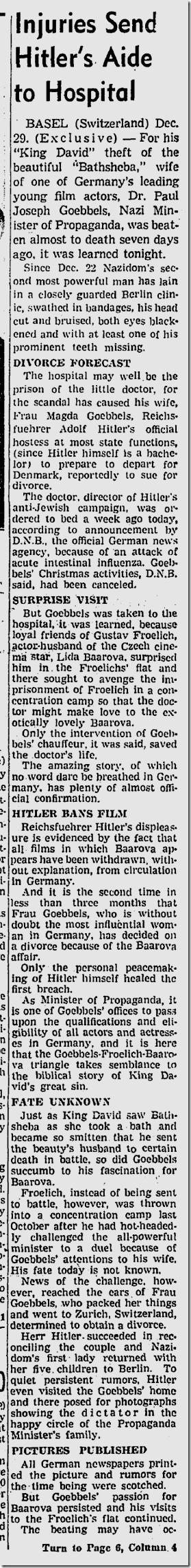 Dec. 30, 1938, Baarova-Goebels
