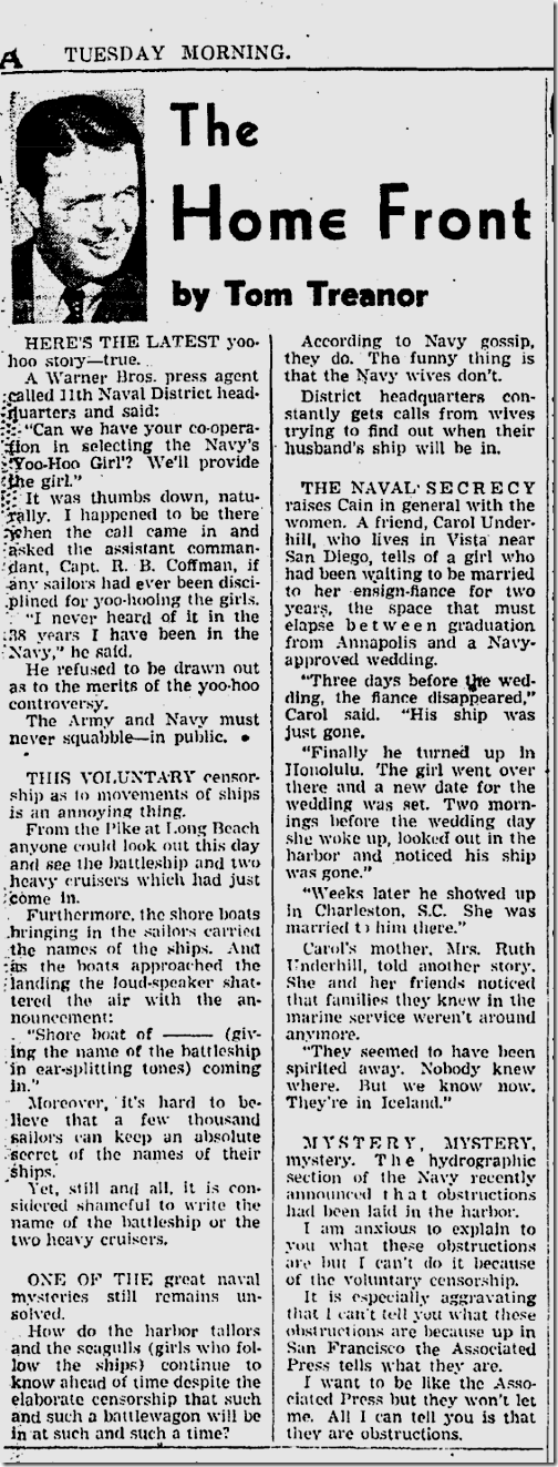 July 15, 1941, Tom Treanor