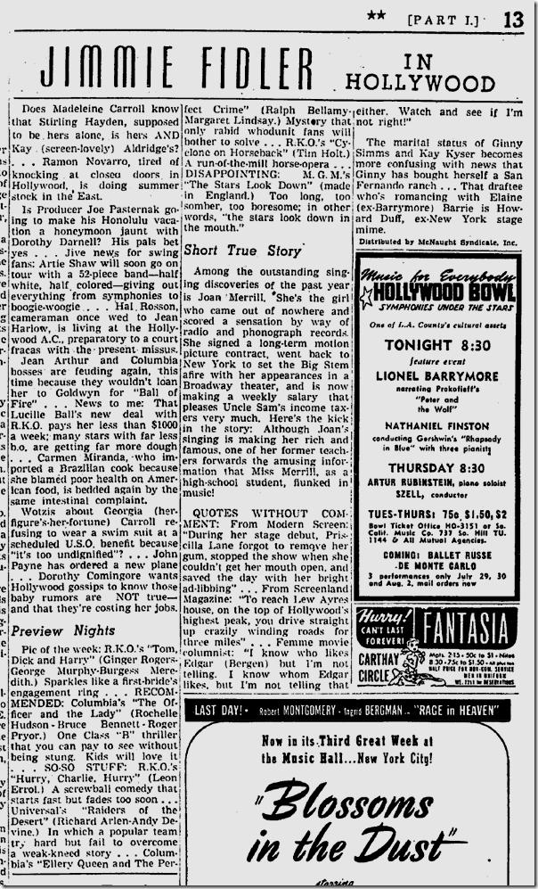 July 15, 1941, Jimmie Fidler