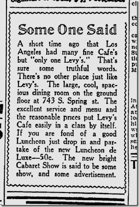 Levy's Cafe, Aug. 25, 1915