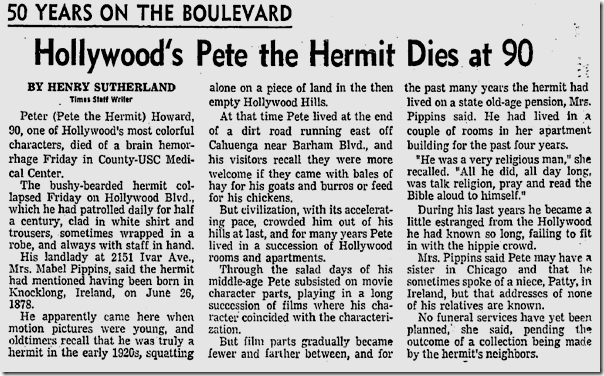 March 15, 1969, Peter the Hermit