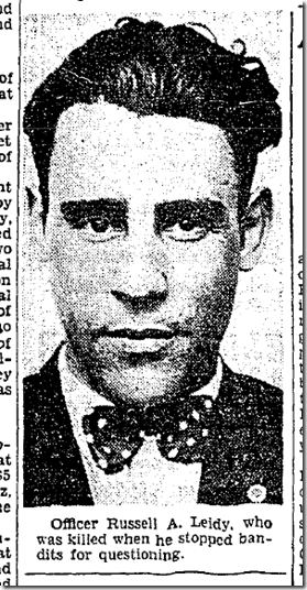 July 25, 1934, Officer Russell Leidy