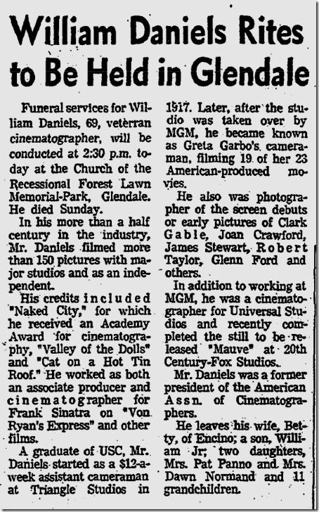June 17, 1970, William Daniels