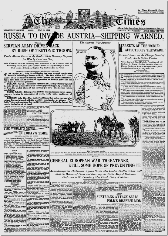 July 29, 1914, Russia to Invade Austria