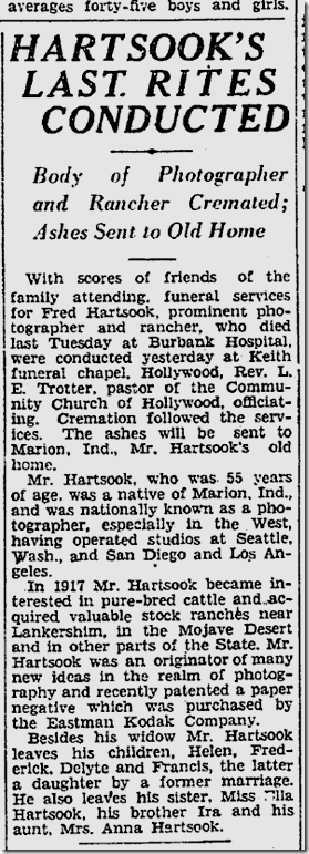 Oct 5. 1930, Fred Hartsook Dies