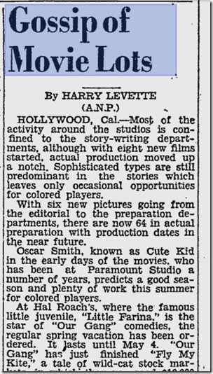March 28, 1931, Gossip of Movie Lots