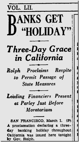 March 1, 1933, Bank Holiday