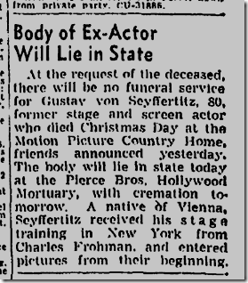 Gustav von Seyffertitz dies, Dec. 28, 1943