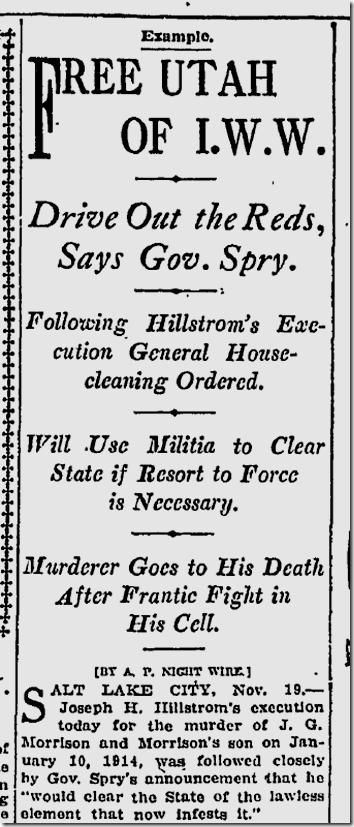 Nov. 20, 1915, Joe Hill Executed