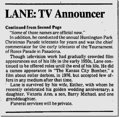 Sept. 6, 1982, Dick Lane Dies