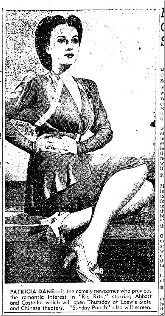 May 19, 1942, Patricia Dane