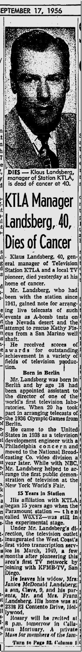 Sept. 17, 1956, Klaus Landsberg