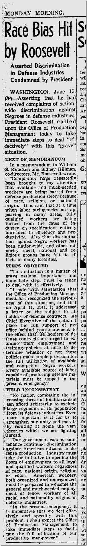 June 16, 1941, Job Bias