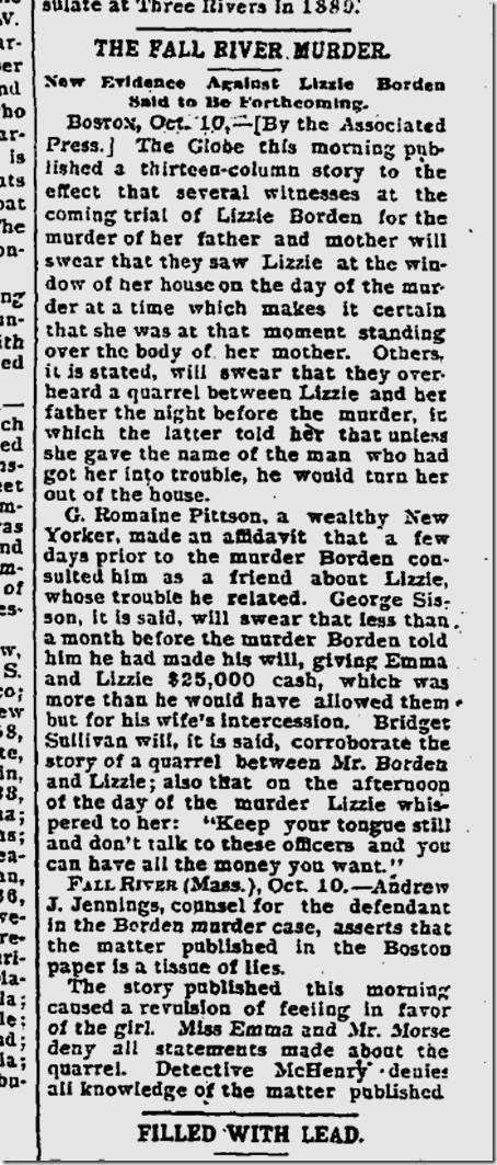Oct. 11, 1892, Lizzie Borden