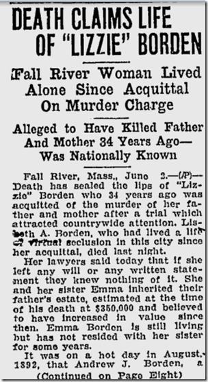 June 3, 1927, Lizzie Borden Dies