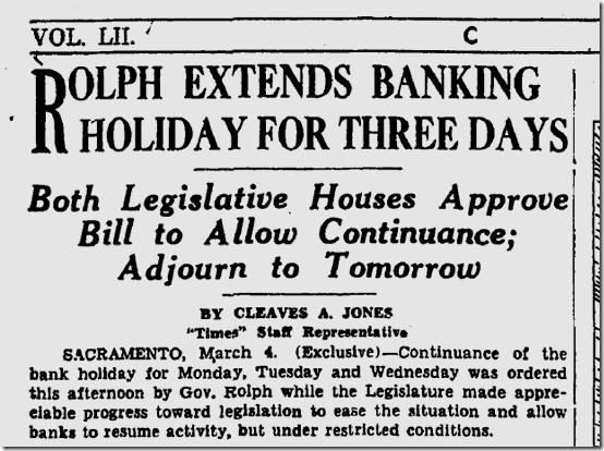 March 5, 1933, Bank Holiday