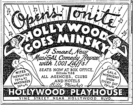 July 30, 1936, Hollywood Goes Minsky