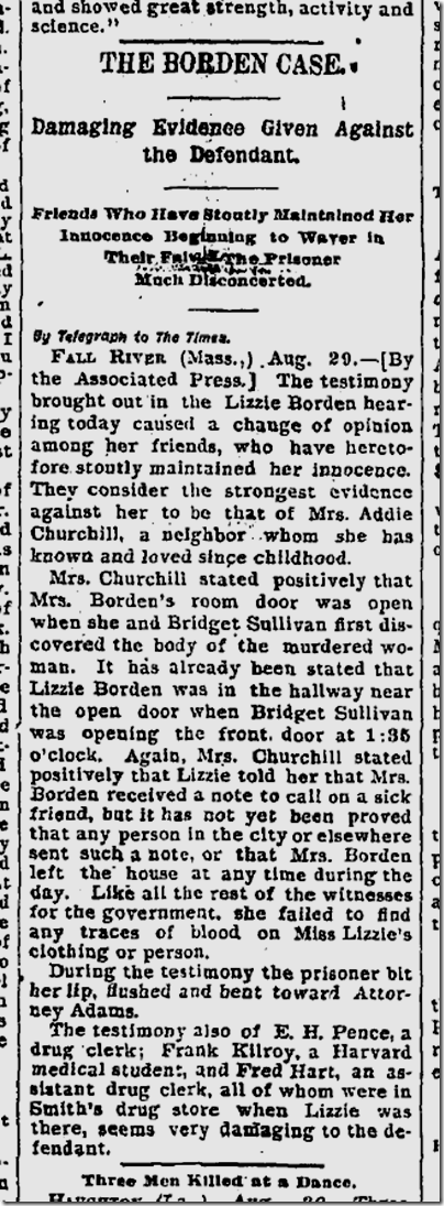 a review of different evidences against lizzie borden Borden was thirty-two at the time of the notorious events, and macneill and kass surround lizzie with the complications of her family and of being unmarried at her then-advanced age matched against kristen stewart as bridget sullivan, the housemaid whose presence turns lizzie against injustice.