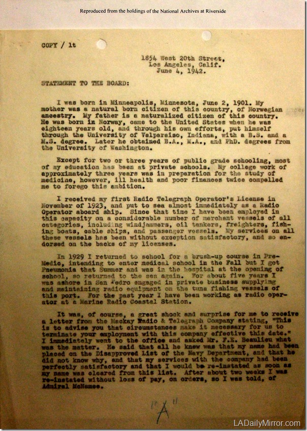 June 4, 1942, Letter, Page 1