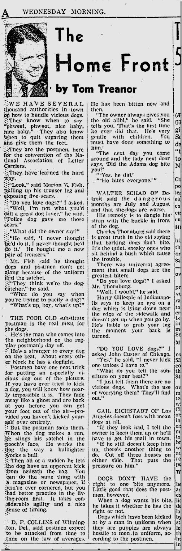Sept. 3, 1941, Tom Treanor