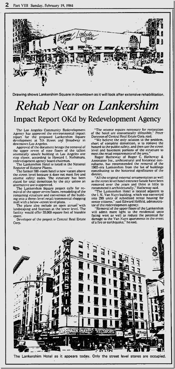 Feb. 19, 1984, Hotel Lankershim