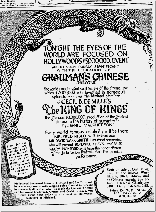 May 18, 1927, Grauman's Chinese
