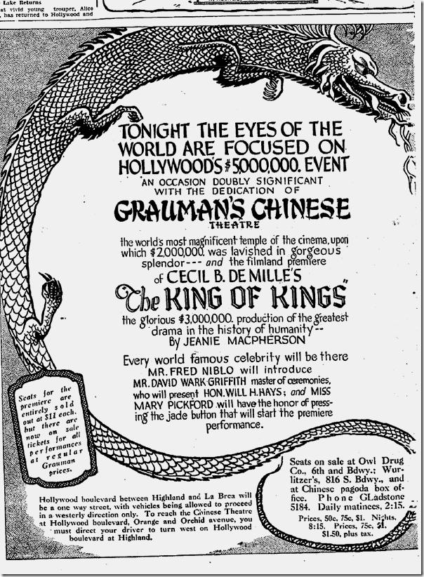 May 18, 1927, Grauman's Chinese