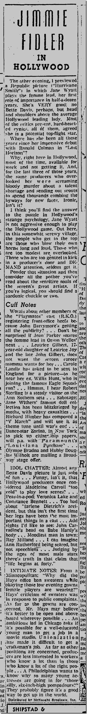 Sept. 3, 1941, Jimmie Fidler