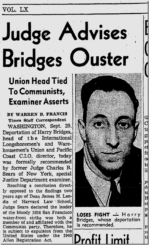 Sept. 30, 1941, Harry Bridges