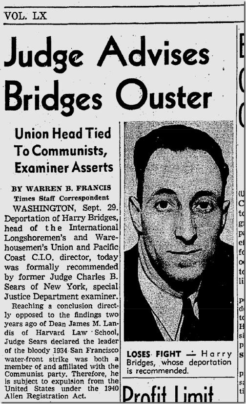 Sept. 30, 1941, Harry Bridges