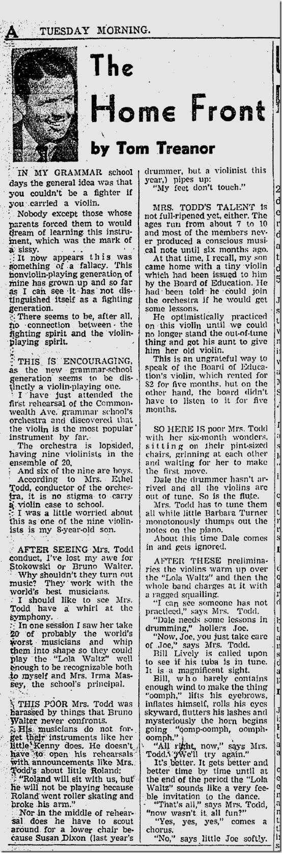 Sept. 30, 1941, Tom Treanor