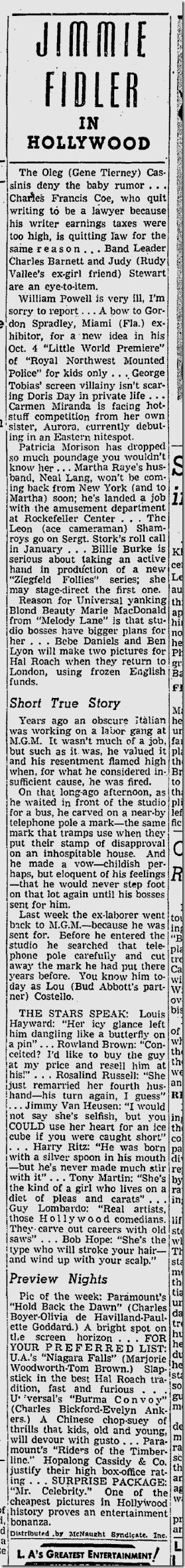 Sept. 30, 1941, Jimmie Fidler