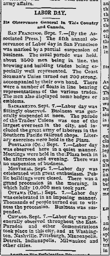 Sept. 8, 1891, Labor Day