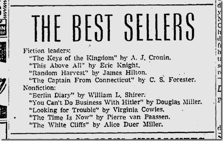 Sept. 7, 1941, Bestsellers