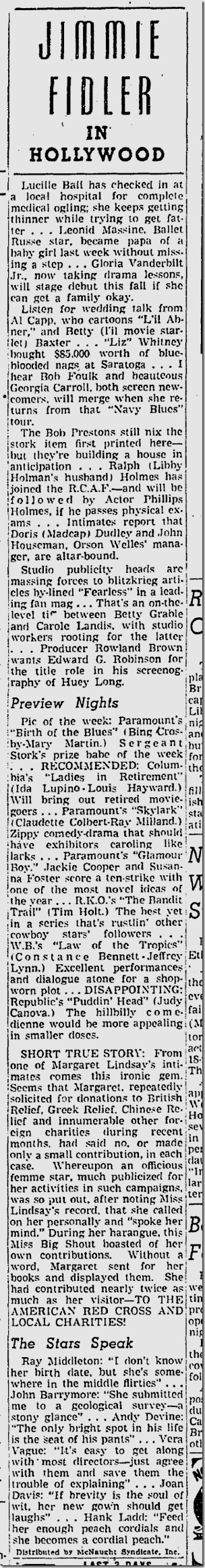 Sept. 9, 1941, Jimmie Fidler