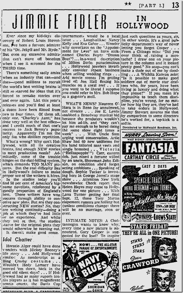 Sept. 10, 1941, Jimmie Fidler