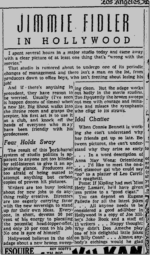 Sept. 7, 1941, Jimmie Fidler