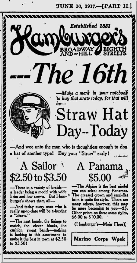 June 16, 1917, Straw Hat Day
